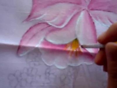Cojín de Orquídeas con pintura textil (Parte 2.4)
