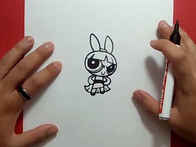Como dibujar a Petalo paso a paso - Las Supernenas | How to draw Blossom - The Powerpuff Girls