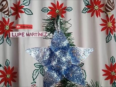 Como hacer una estrella reciclada con botellas | como hacer adornos navideños