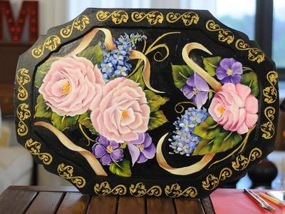 Como pintar una bandeja con oleos - Rosas y Hojas - Silvia Mongelos