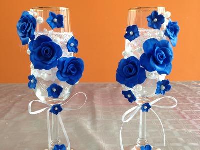 Copas decoradas para fiesta de boda