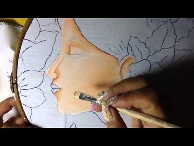 Pintura en tela rostro con flores # 1 con cony