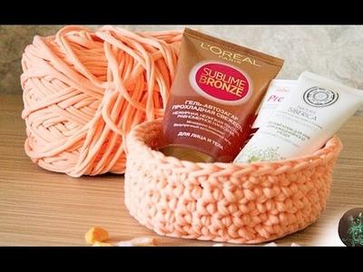 Cestas de tejer de trapillo - Clase facil de como teje cesta de trapillo