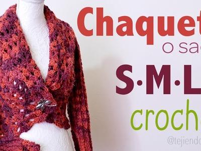Chaqueta con cuello doblado y mangas largas tejido a crochet en 3 tallas: S M L