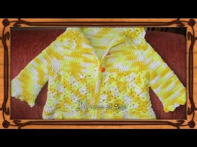 Chaquetita, saquito o cardigan para una bebe de 2 a 3 meses paso a paso tejido a crochet