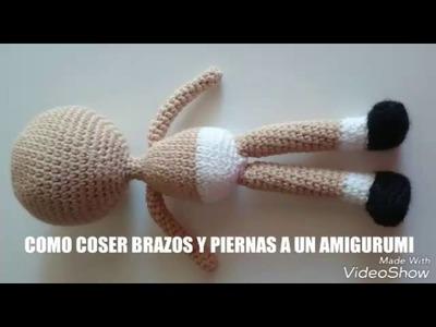 Como coser brazos y piernas a un amigurumi