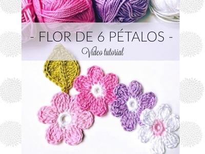 Cómo hacer una flor de 6 pétalos al crochet. Tutorial fácil