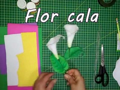 Como hacer una flor cala de foami o goma eva