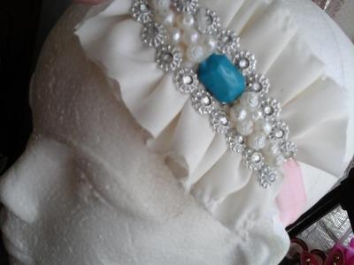 Como hacer una diadema.valerina.Aplicación de tela con perlas y diamantes.Creactivate Manualidades.