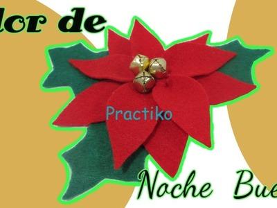 Manualidad para Navidad como hacer flor de noche buena con fieltro- PRACTIKO