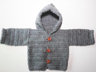 Como hacer trenca o rebeca de bebé a crochet.