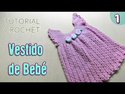 DIY Vestido para bebé tejido a crochet - Paso a paso | Liliana Milka