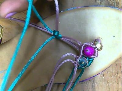 Sandalias tejidas en macrame segunda parte, La Reina Mercería Creativa