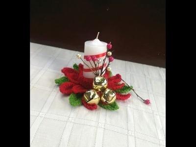 Vela Navideña tejida en Crochet - Portavela para Navidad