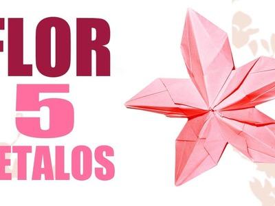Como hacer flores de Origami FLOR DE 5 PETALOS flores origami