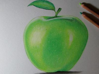 Cómo dibujar una manzana con lápices pastel paso a paso