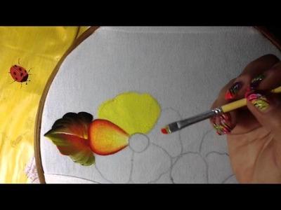 Pintura en tela flores de blusa con cony