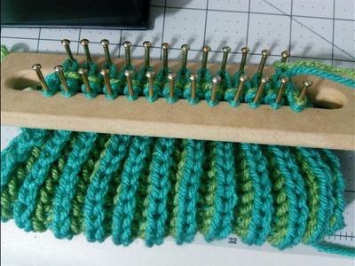 Bufanda en telar, punto brioche o ingles 2 colores parte  2