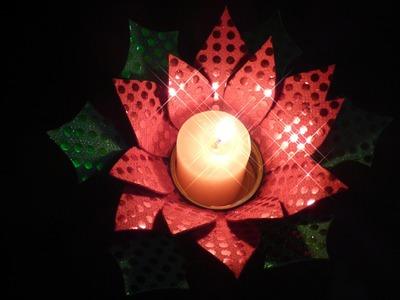 Como hacer un porta velas para el centro de la mesa en Navidad