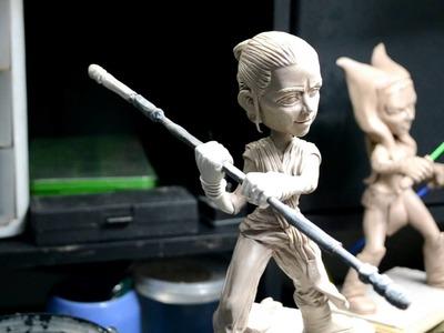 Rey and  Ahsoka Tano figures (polymer clay)