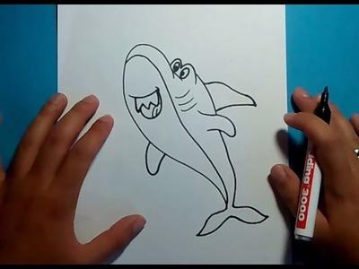Como dibujar un tiburon paso a paso 6   How to draw a shark 6