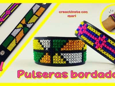 Cómo hacer pulseras bordadas, tejidas con hilos Diy Bracelets