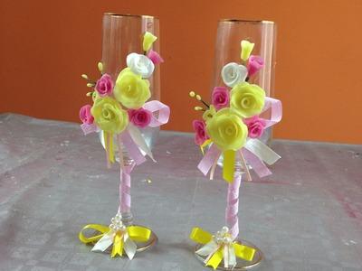 Decoración de Copas con rosas y cintas