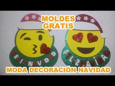 Decoración navideña Moda emojis de whatsapp con gorro de Santa Clauss Papá Noel en foamy Goma eva Em