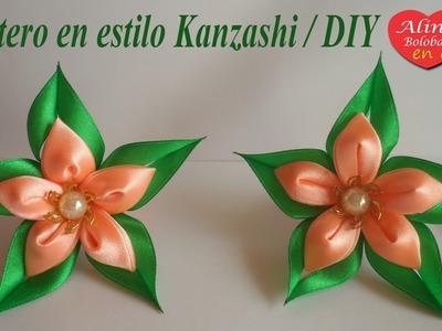 La estrella verde el coletero para cabello en estilo Kanzashi. DIY