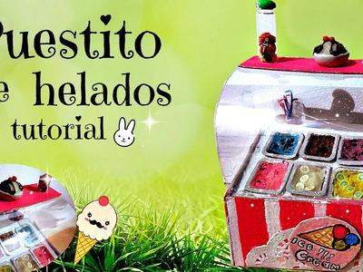Puestito de helados. tutorial. porcelana fria. cosas para tus muñecas