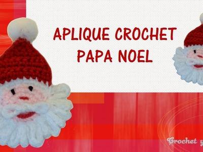 Aplique – adorno navideño de Papá Noel tejido a crochet (ganchillo)