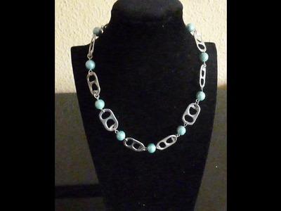 Como hacer un collar con anillas de lata y perlas DIY