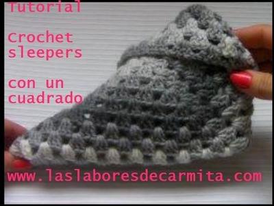 Crochet sleepers a partir de un cuadrado