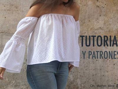 DIY Patrones y tutorial: Camiseta blanca sin hombros para mujer