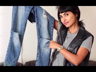 Cómo cortarle las rodillas a tus jeans!