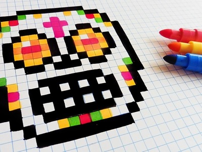 Halloween Pixel Art - How To Draw Sugar Skull #pixelart