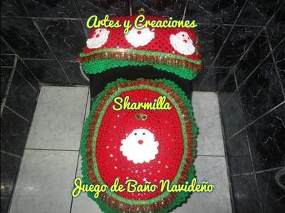 JUEGO DE BAÑO NAVIDEÑO (TAPA DE TANQUE) TEJIDO A CROCHET - 1ERA. PARTE