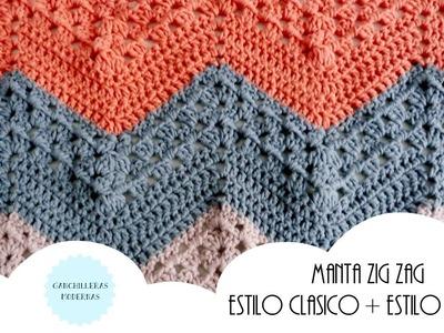 Manta ZIGZAG de crochet PATRÓN CLÁSICO+PATRÓN GRANNY. MUESTRAS DE GANCHILLO