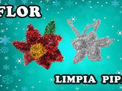 Manualidades para Navidad flor de Nochebuena (Poinsettia) con limpia pipas-PRACTIKO