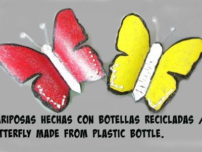 Mariposas hechas con botellas de plastico reciclado. Butterfly made from plastic bottle