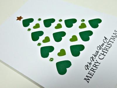 Christmas Cards #4 | Árbol de Navidad con corazones FÁCIL