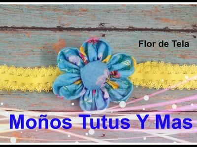 FACIL FLOR CON RETAZO DE TELA Paso a Paso EASY TO MAKE FABRIC FLOWER Tutorial DIY How To PAP