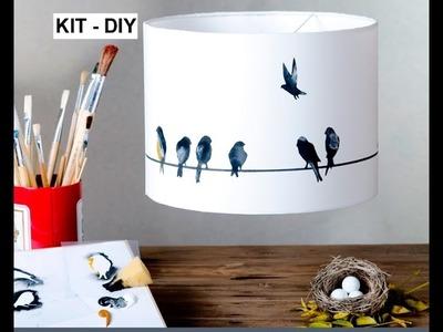 Pantalla para lámpara en kit 'pájaros'. Créala.