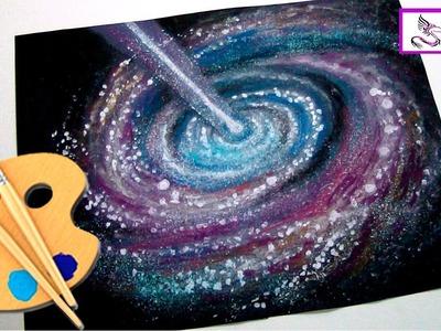 Como dibujar y pintar Una Galaxia y el Espacio con Polvo de Estrellas