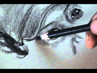 Retrato con lápiz de CARBÓN- Chica con gorra. Ejercicios de DIBUJO ARTÍSTICO PROFESIONAL.