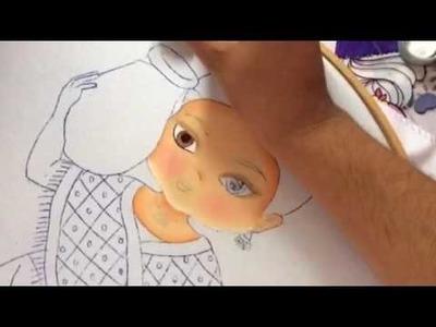 175.- Pintura en tela carita de niña con jarrón