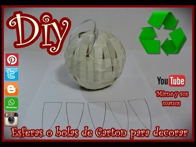 Diy Como hacer una esfera de carton para decorar . How to make cardboard spheres for decorating