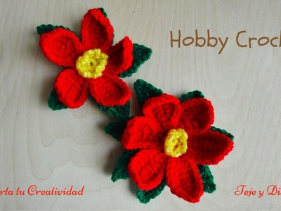 Mi flor de Navidad a crochet (poinsettia), paso a paso.