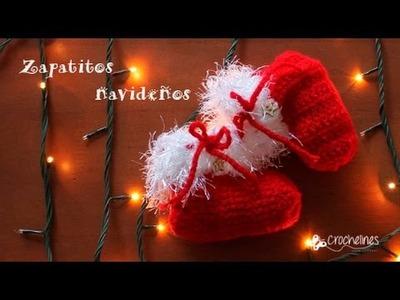 Zapatitos navideños muy sencillos -Crochelines-