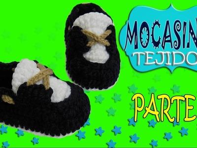Zapatos mocasines clásicos tejidos a crochet  | parte 1.2